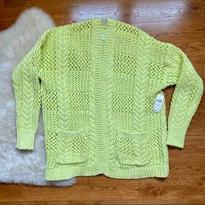 Anthropologie Lime Yellow Chunky Cable Sweater